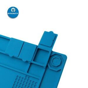 Image 5 - Wysoka temperatura 45x30CM podkładka izolacyjna silikonowa elektryczna mata lutownicza z wkrętami lokalizacja