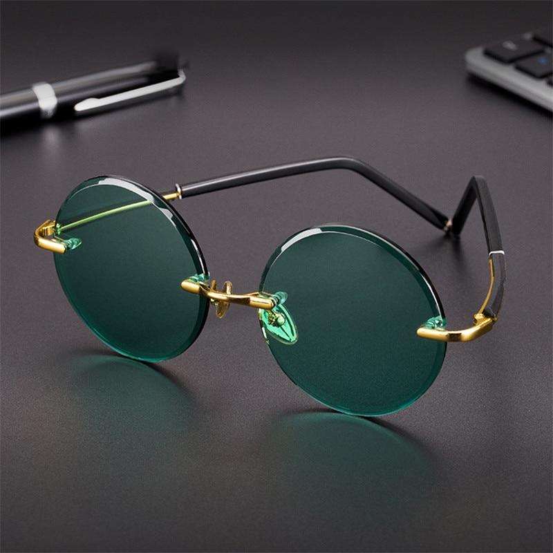 Vazrobe Glass Sunglasses Male Dark Green Ladies Sun Glasses for Men Rimless Round Oversized Big Large Anti Scratch Lens Brand