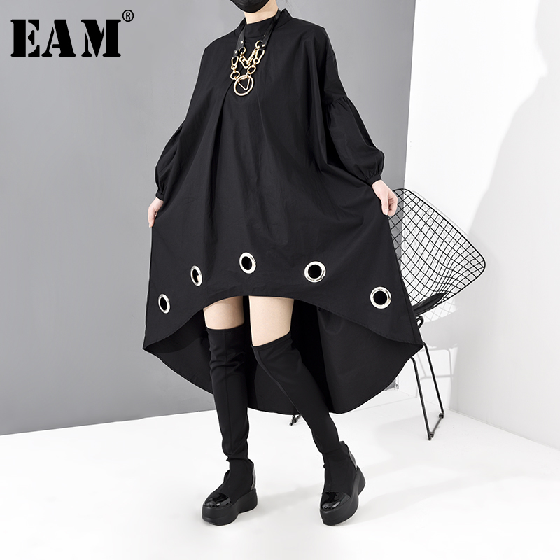 [EAM] Women Black Long Hollow Out Black Big Size Dress New Stand Collar Long Sleeve Loose Fit Fashion Spring Autumn 2020 JE292