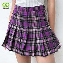 Womens Skirts Korean Style High Waist Plus Size Harajuku A line Pleated Plaid Mini Woman Skirts Mujer Faldas Mujer Moda 2020