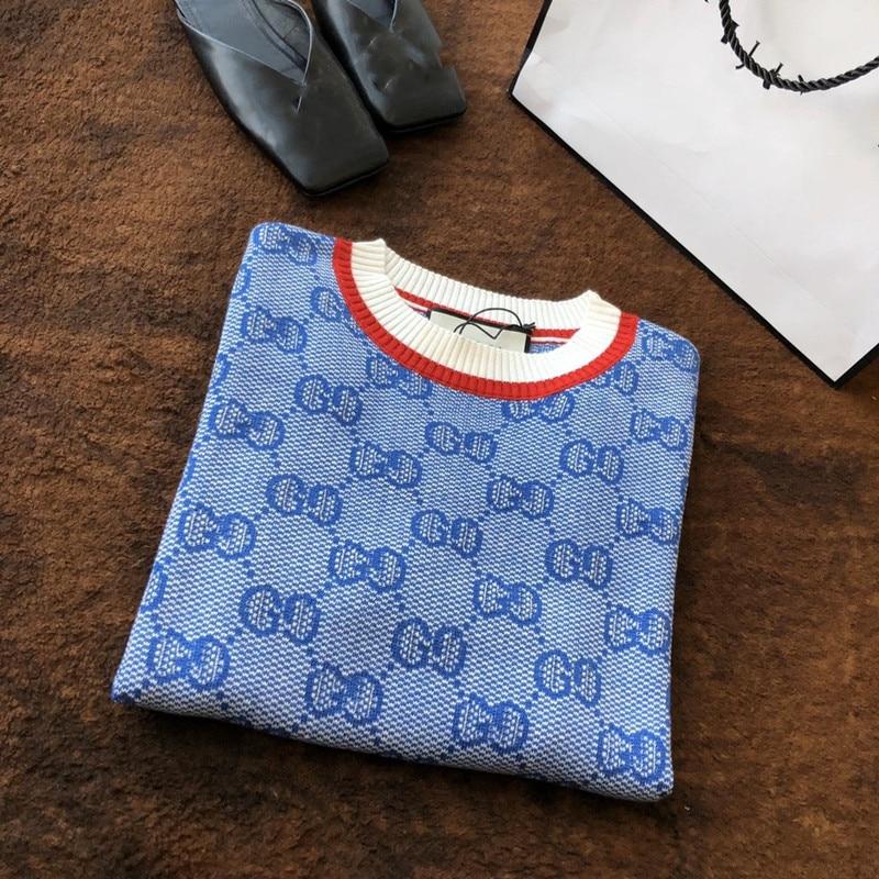 2020 Summer New Fashion Blue Short Sleeve Double G Knitted Women's T-shirt