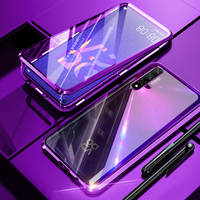 Caso magnético para huawei nova 5 t 5 t caso duplo-face vidro temperado completa proteger capa para huawei honor 20 honor20 caso