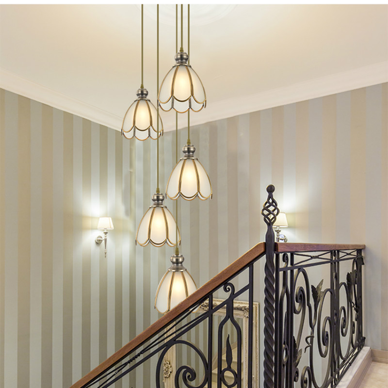 Luxury atmospheric villa duplex building full copper stairwell long chandelier European glass stair chandelier LB121714