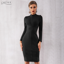 Adyce 2020 חדש חורף Bodycon תחבושת שמלת נשים סקסי ארוך שרוול Midi מועדון שמלת Vestidos שחור סלבריטאים ערב המפלגה שמלה