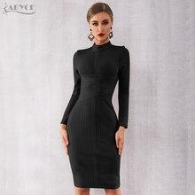 Adyce 2020 nowa zimowa bandażowa sukienka kobiety Sexy z długim rękawem za kolano, klubowa sukienka Vestidos czarne suknie wieczorowe w stylu gwiazd