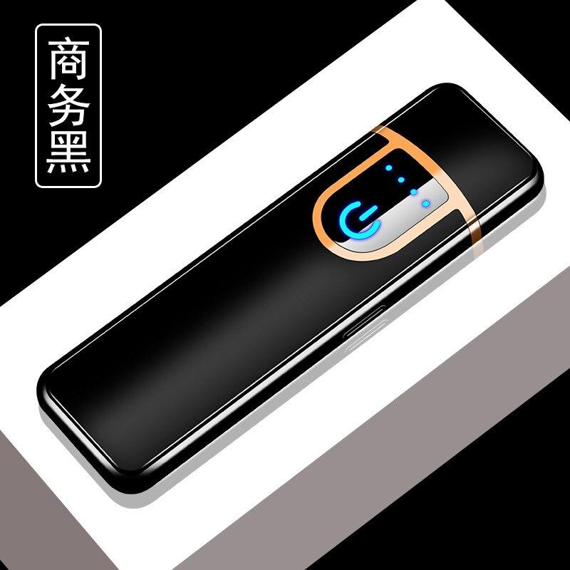 Персонализированная USB перезаряжаемая пластиковая зажигалка ветрозащитный сенсорный индукционный нагревательный провод прикуриватель - Цвет: Черный