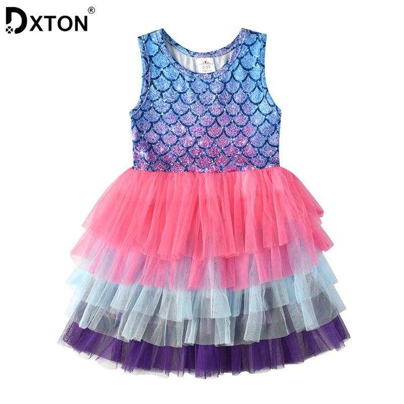 DXTON Princess Dress For Girls Summer Kids Dresses Beach Party Vestidos Mesh Tutu Cartoon Dress Cotton Baby Girls Clothing 3-8Y