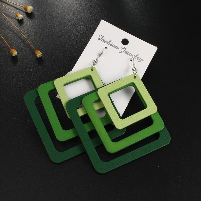BELLAHYDIARY Fashion Boho Geometric Multilayer Wood Earrings For Women Jewelry Statement Hollow African Indian Wooden Earring