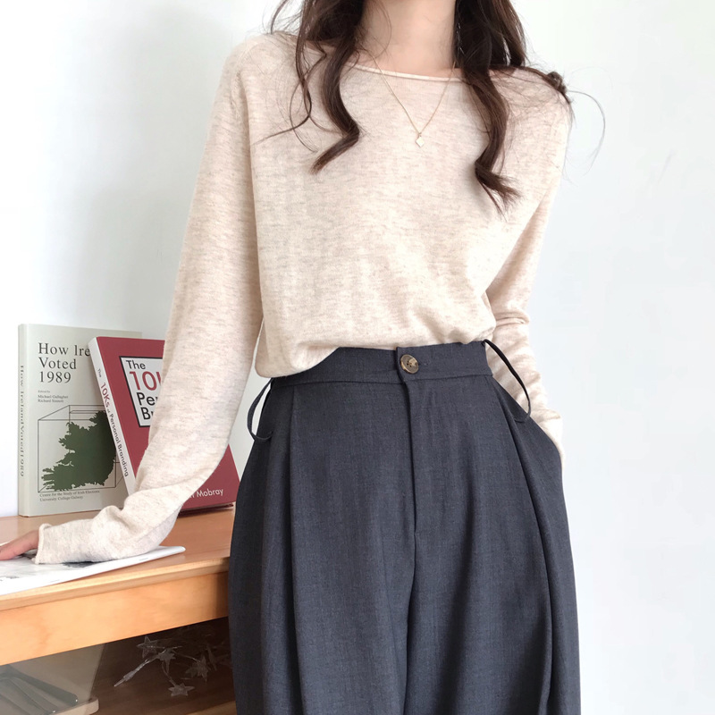 Slouchy Oversize Knitted Top Slash Neck Women Long Sleeve Knit Tops Sweater Pullovers Solid