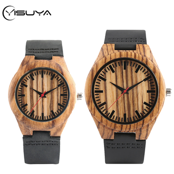 цена YISUYA Natural Retro Stripe Handmade Wood Watch Men's Clock Bamboo Women Round Dial Leather Band Analog Quartz Couple Wristwatch онлайн в 2017 году