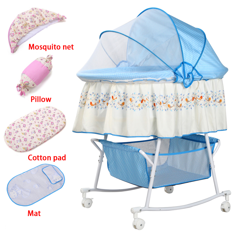 Baby Cradle Bed Small Shaker Newborn Bed Shaker Bed With Mosquito Net Multi-function Comfort Bb Bed With Roller Sleeping Basket