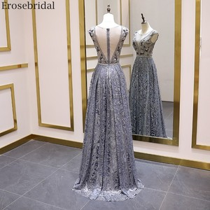 Image 2 - Erosebridal Luxury Beads Evening Dress Long See Through Body A Line Prom Dress 2020 Small Train Unique Neck Design Zipper Back