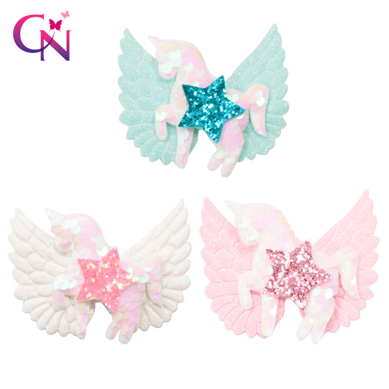 CN 6Pcs/lot Shiny Unicorn Hair Clips With Wings For Girls Kids Glitter Sequin Star Hair Bows Hairpins Hairgrips Hair Accessories