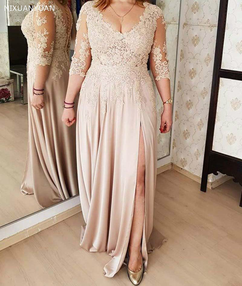 Plus Size 2020 Mother Of The Bride Dresses A-line V-neck 3/4 Sleeves Chiffon Appliques Long Groom Mother Dresses For Weddings
