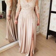 De talla grande 2020 vestidos de Madre de la novia Línea A con cuello en V mangas 3/4 de chifón con apliques largos de novio vestidos de madre para bodas