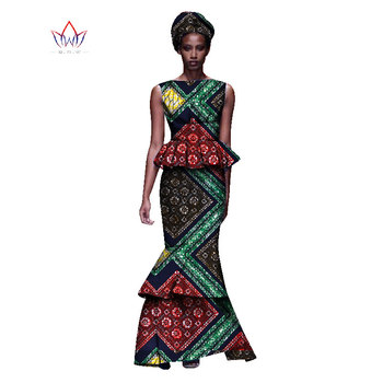 2020 New African Dresses For Women Dashiki Ladies Clothes Ankara O-Neck Africa Clothes Two Pieces Set Natural 6xl None WY1054 - 10, M