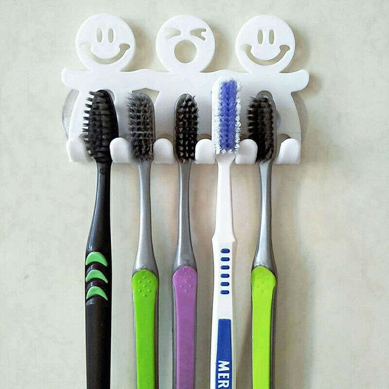 Smile Face Toothpaste Toothbrush Holder Wall Mount Hanger Home Bathroom Suction image