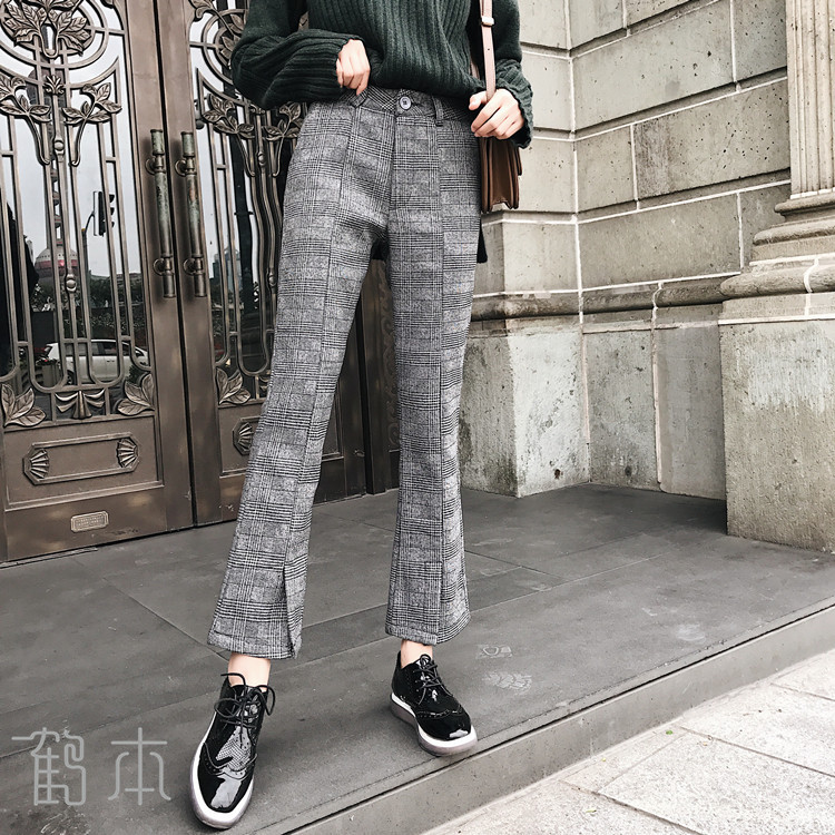 2019 Autumn And Winter Woolen Plaid   Pants   Women's Slit Slim Fit Bell-bottom   Pants   Slimming Casual   Pants     Capri     Pants   a Generation