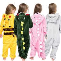 Kigurumi/детская одежда для сна для мальчиков и девочек; Пижама с единорогом; фланелевая детская пижама с единорогом; комплект зимних комбинезо...