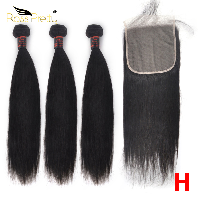 Ross Pretty Remy High Ratio Brazilian Lace Closure With Bundles Natural Human Hair Bundles With Closure Straight Transparent 6x6
