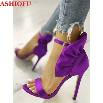 ASHIOFU New Designed Women High Heel Sandals Butterfly-knot Peep-toe Sexy Party Prom Summer Shoes Plus Size Fashion Purple Shoes