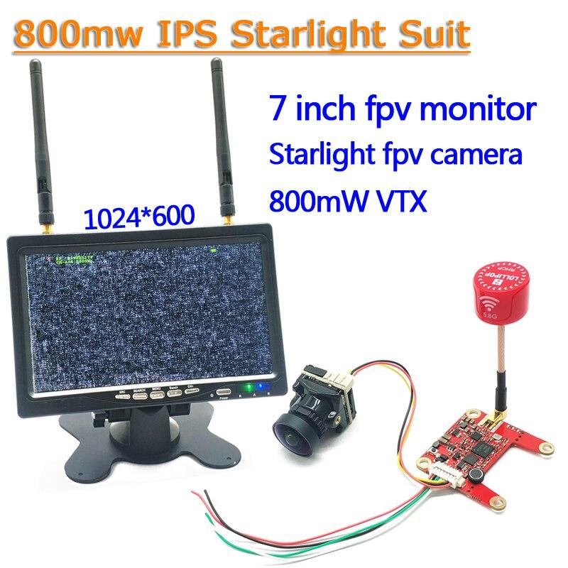 5,8G 40CH 7-дюймовый HD IPS монитор с регулируемым передатчиком 800 МВт + Starlight HDR OSD объектив 1,66 мм 1200TVL камера для RC части
