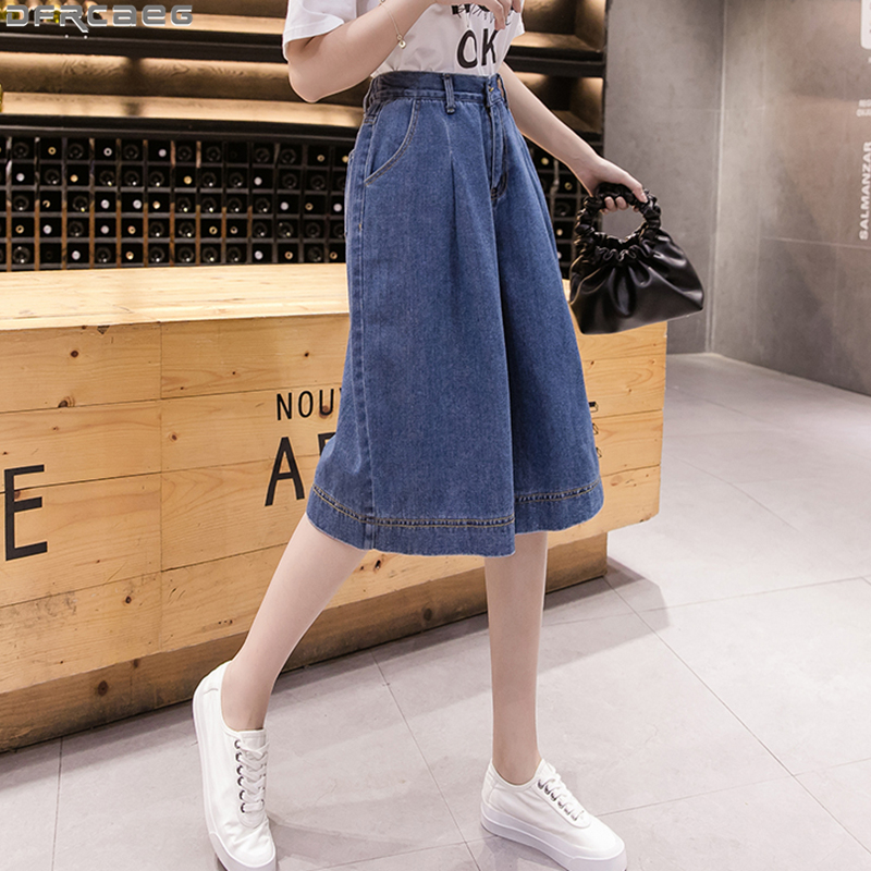 Casual Streetwear Wide Leg Denim Skirt Shorts Women Loose Straight High Waist Short Feminino Plus Size Midi Ladies Shorts Jeans