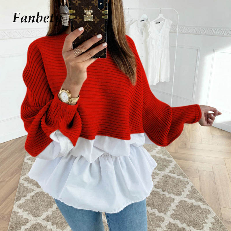 Women Autumn Casual Patchwork   blouse     Shirts   Elegant Sexy off shoulder Long Sleeve Ruffle pullover winter Mujer tops dropshipping