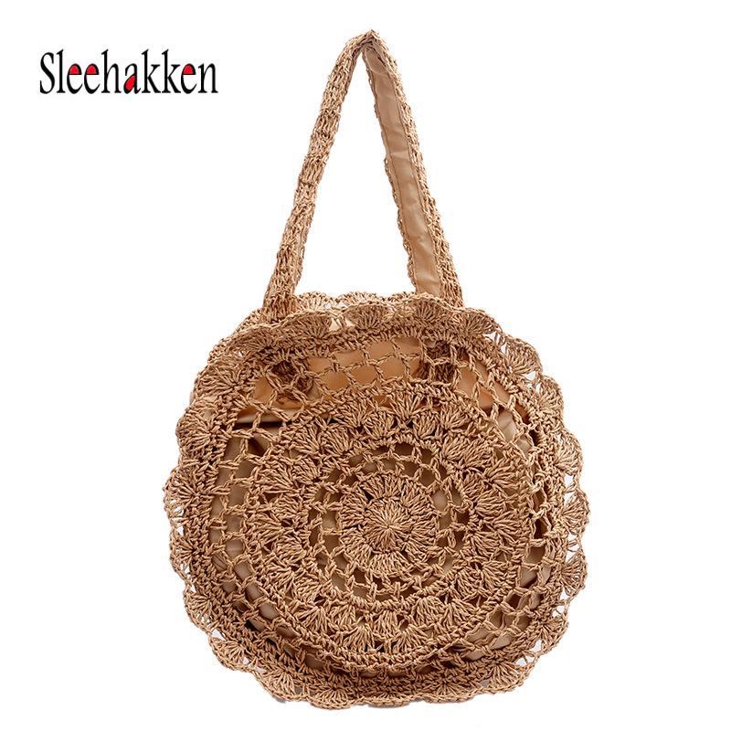 Woven Rattan Big Bag Round Straw Hollow out straw bag Ladies handbag holiday beach fashion handmade woven