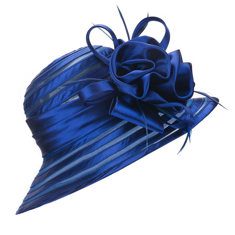 Summer Hats for Women Wide Brim Cap Ladies Beach Floppy Hats Bridal Mother Hat Church Hats Church Wedding Satin Ribbon Hats A214