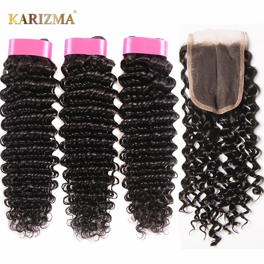 Karizma Deep Wave Brazilian Hair 3 Bundle Deals With Closure Middle Part 100% Human Hair Weave Bundles 4Pcs/lot Non Remy Hair