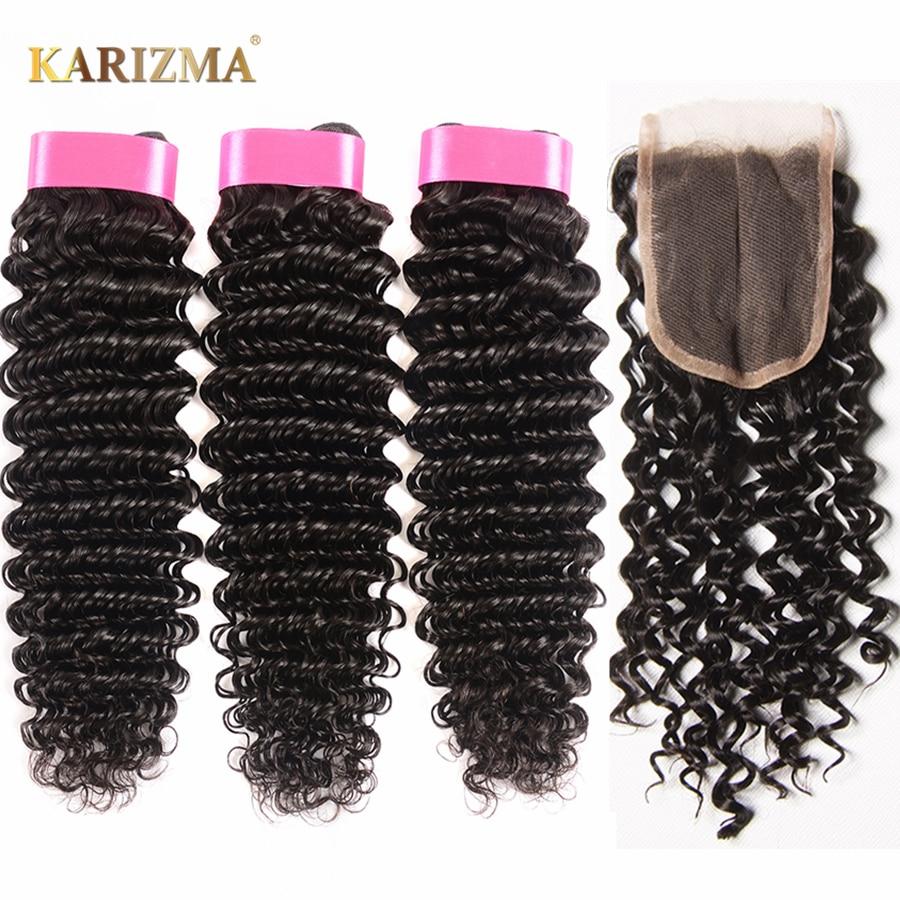 Karizma Deep Wave Brazilian Hair 3 Bundle Deals With Closure Middle Part 100% Human Hair Weave Bundles 4Pcs/lot Non Remy Hair