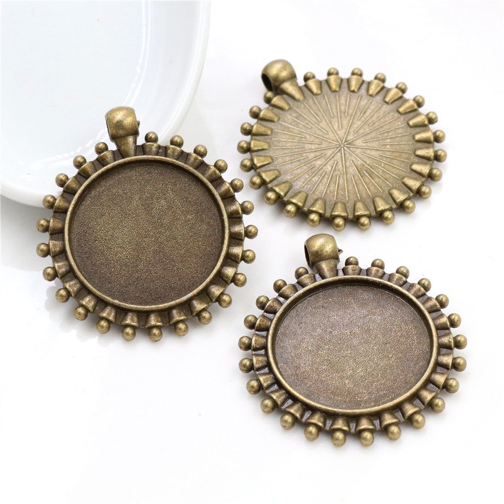 New Fashion  3pcs 25mm Inner Size Antique Bronze Beads Style Cabochon Base Setting Charms Pendant (A4-20)