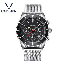 CADISEN Mens Watches Top Brand Luxury Waterproof Wrist Watches Stainless steel Date Simple Casual Quartz Watch Men Sports Clock все цены
