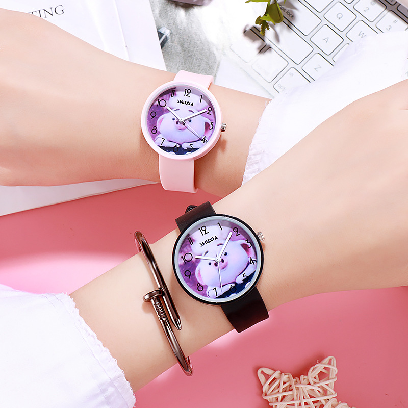 Hot Sale Fashion Cute Pet Pig Cartoon Baby Watch Kids Watches Children Watch Boy Girl Rubber Strap Quartz-watch Clock Hour Gift