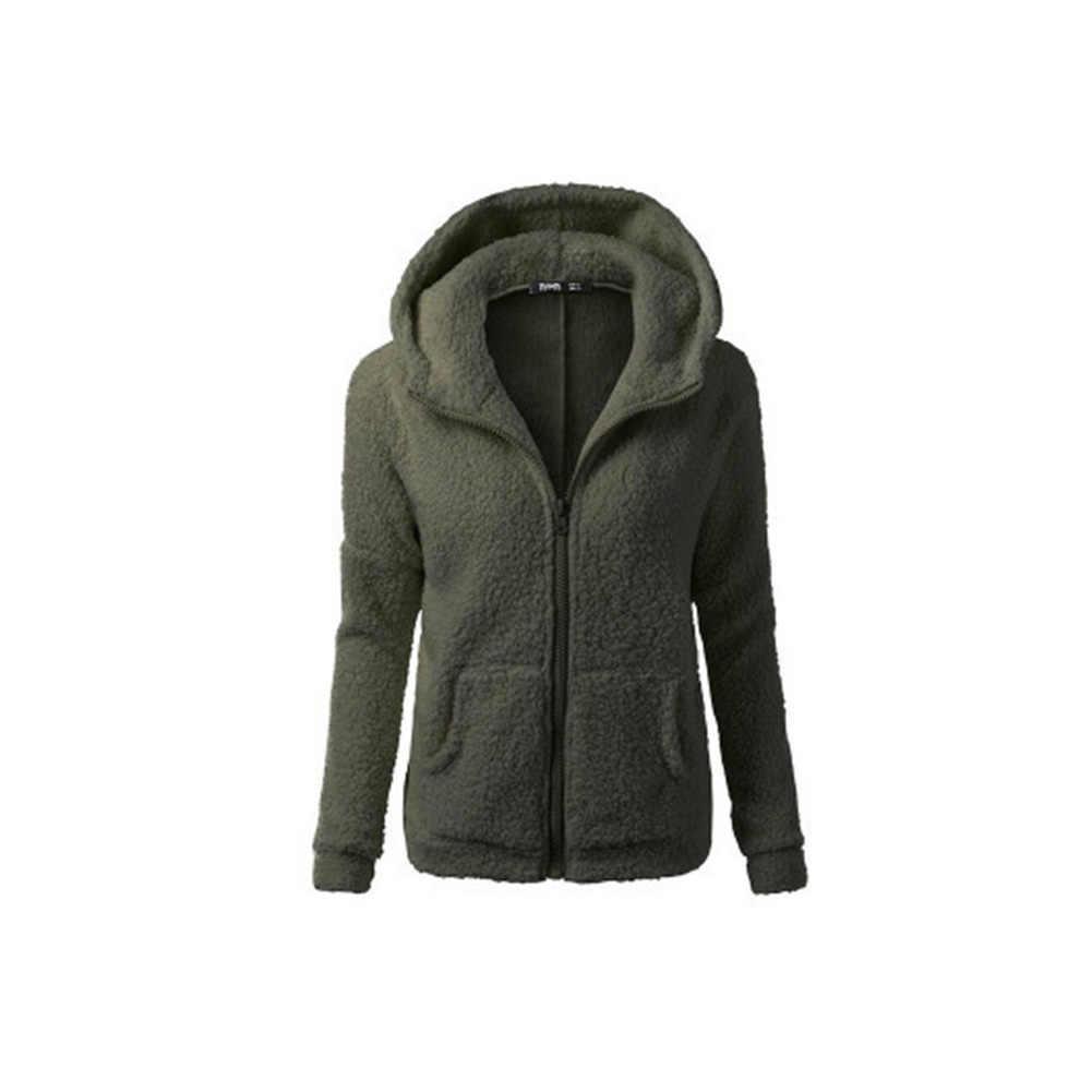 パーカーぬいぐるみ長袖女性のコート秋冬プラスベルベット厚いカジュアル豪華なセーターのコート