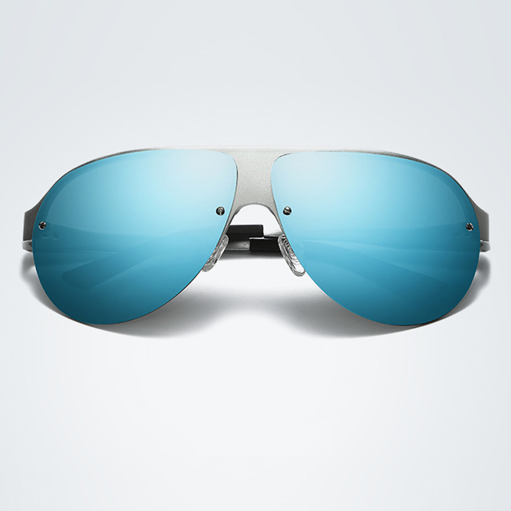 Blue Mirror Mens Polarized Sunglasses UV400 Alloy Oversized Retro Driving Glasses