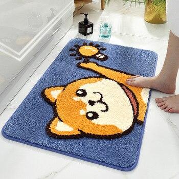 De dibujos animados perro y gato flocado alfombra de baño en la Casa Hogar dormitorio Mat absorbente pie estera antideslizante tapete para la puerta del baño