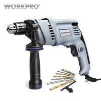 WORKPRO 220V Electric Impact Drill Power Hammer Drill Electric Drill with 9PC Drill Bits
