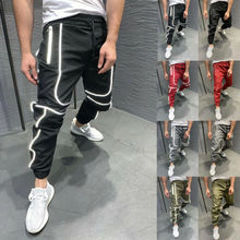 2019 Autumn New Men Slim Fit Trousers Tracksuit Bottoms Stiped Skinny Joggers Long Sweat