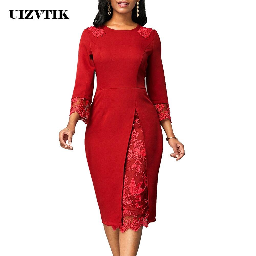 Winter Autumn Dress Women 2019 Casual Plus Size Slim Patchwork Lace Office Bodycon Dresses Vintage Elegant Sexy Long Party Dress