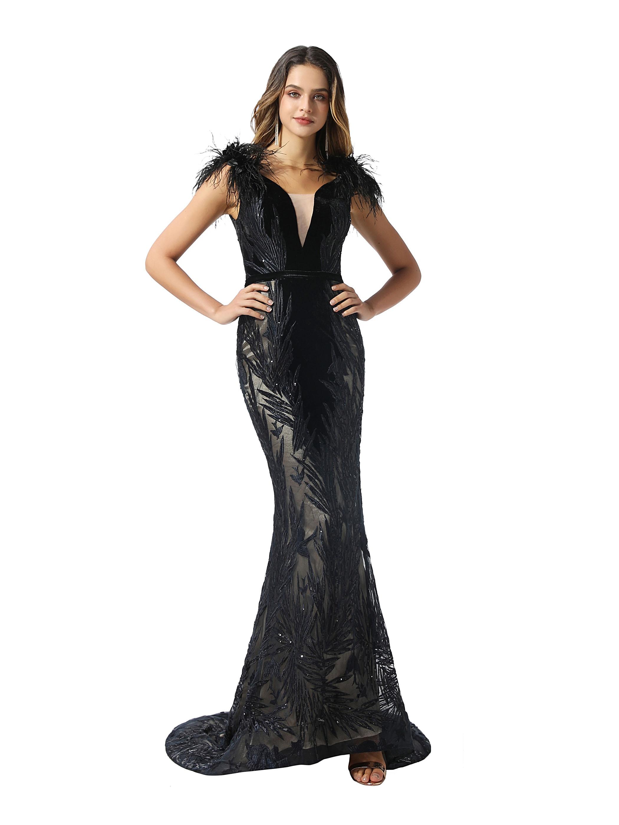 Tanpell Black V-Neck Mermaid Evening Dress Feather Sequin Lace Sleeveless Floor-Length Women Celebrity Custom Evening Dress 2020