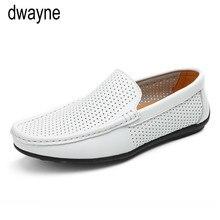 Zapatos de cuero genuino de verano para hombre, mocasines casuales de marca de lujo para hombres, zapatos con conducción transpirable, mocasines antideslizantes ghn6
