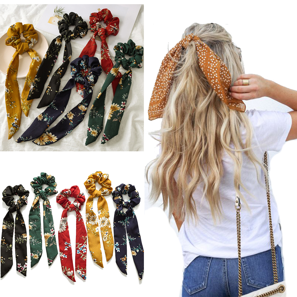 Floral Print Long Ribbon Knotted Scrunchies Women Vintage Bow Scarf Hairband Sweet Female Hair Accessories Elastic Hair Bands
