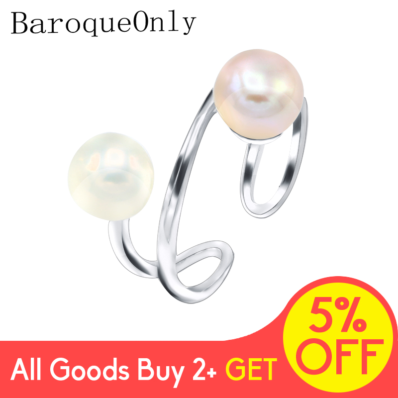 BaroqueOnly Double Pearl High Quality Natural Pearl Rings For Women Fashion 925 Sterling Silver Rings Adjustable New Jewelry RAD