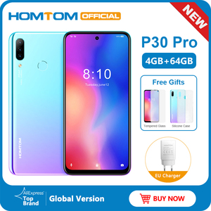 Image 1 - HOMTOM P30 pro Android 9.0 4G Mobile Phone MT6763 Octa Core 4GB 64GB 4000mAh 6.41 inch Face ID 13MP+ Triple Cameras Smartphone