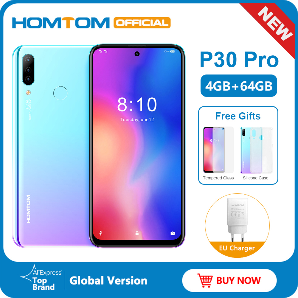 HOMTOM P30 pro Android 9.0 4G Mobile Phone MT6763 Octa Core 4GB 64GB 4000mAh 6.41 inch Face ID 13MP+ Triple Cameras Smartphone image