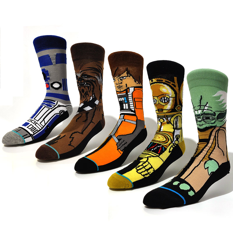 5 Pairs/Pack Cartoon Funny Novelty Creative Anime Patrick Star Wars Personalized Cotton Calcetines Hombre Divertido Men Women