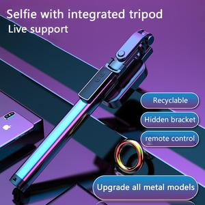Image 2 - Handheld Hidden Bluetooth Tripod 3 in 1 Selfie Stick w/ Beauty light Extendable Selfie timer Fill Light for iPhone Samsung Phone