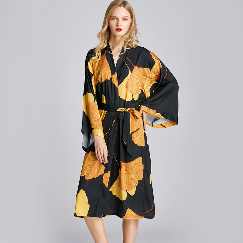 New Style Pajamas Women 's Spring And Summer Robes Mid-length Plus-sized Bathrobe Morning Gowns Tracksuit 1503